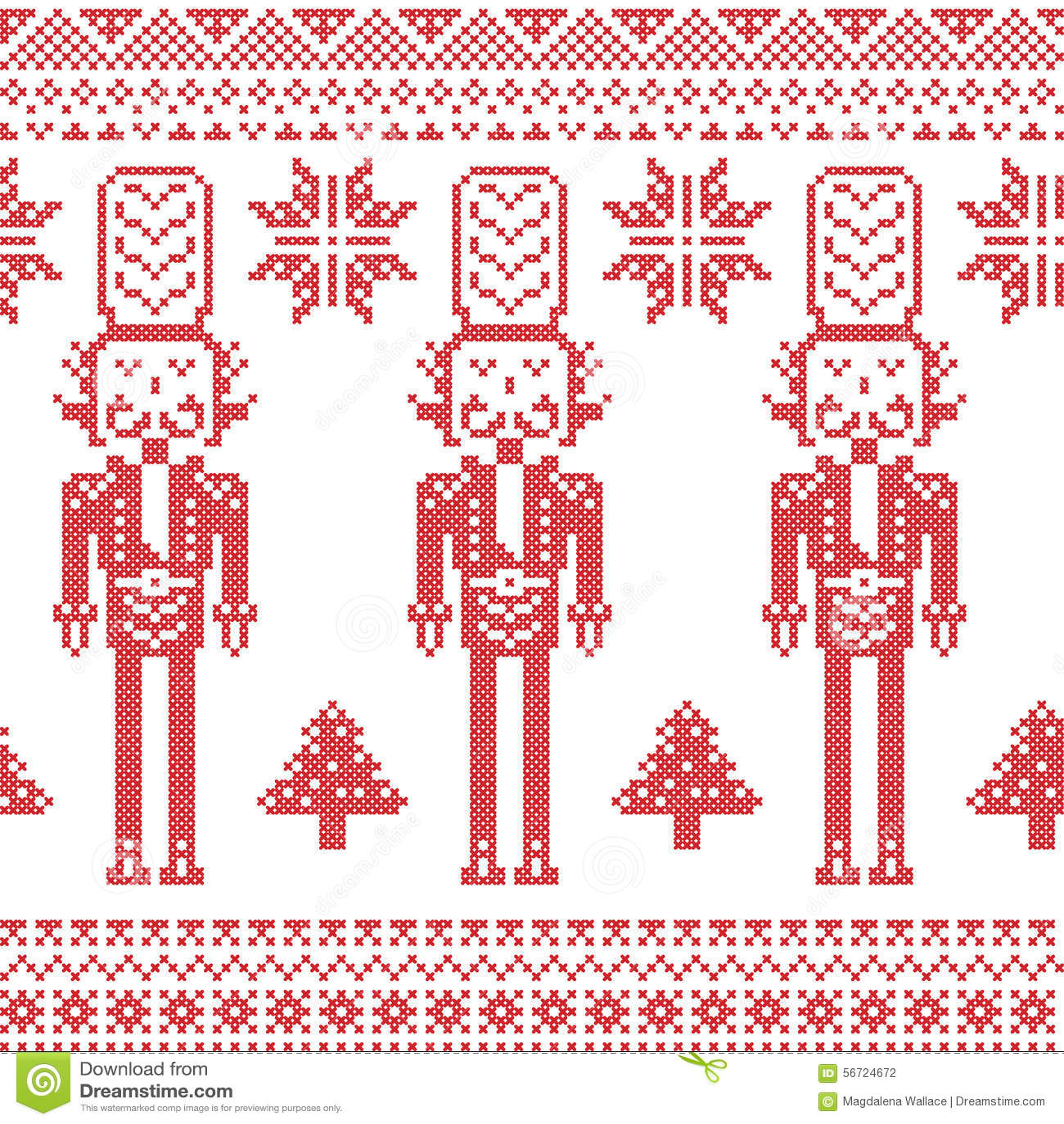Skandynawski Północny boże narodzenie wzór z dziadek do orzechów żołnierzem, Xmas drzewa, płatki śniegu, gwiazdy, śnieg w czerwie