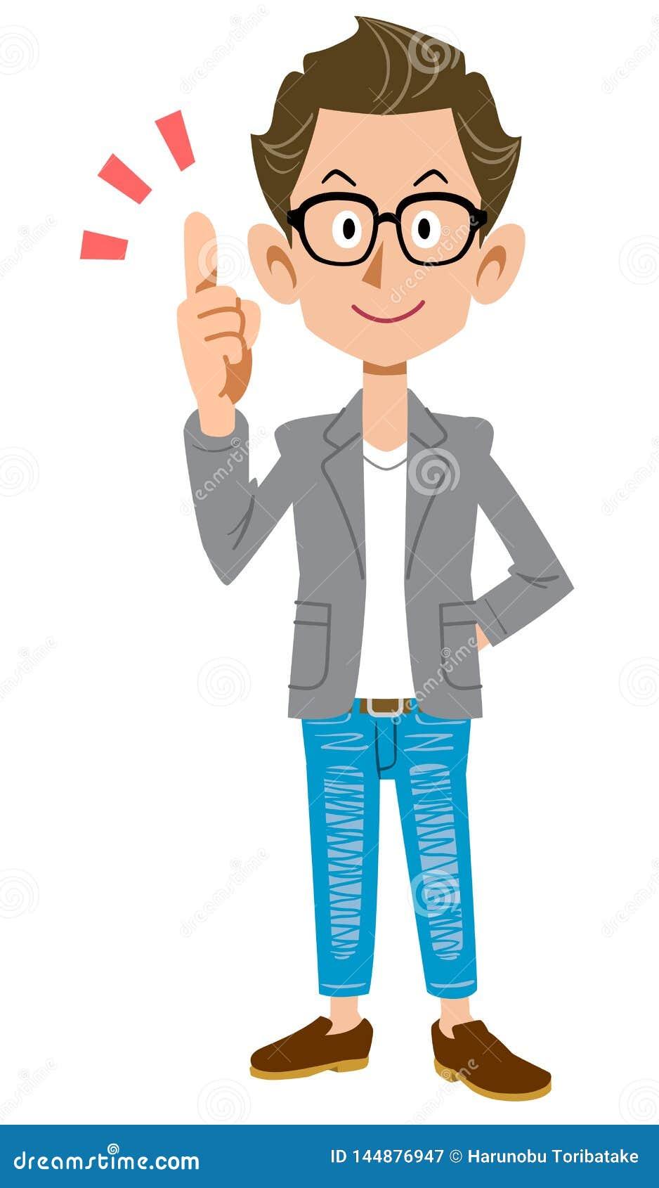 Skapare-som den unga mannen som bär ett omslag som förklarar de huvudsakliga punkterna