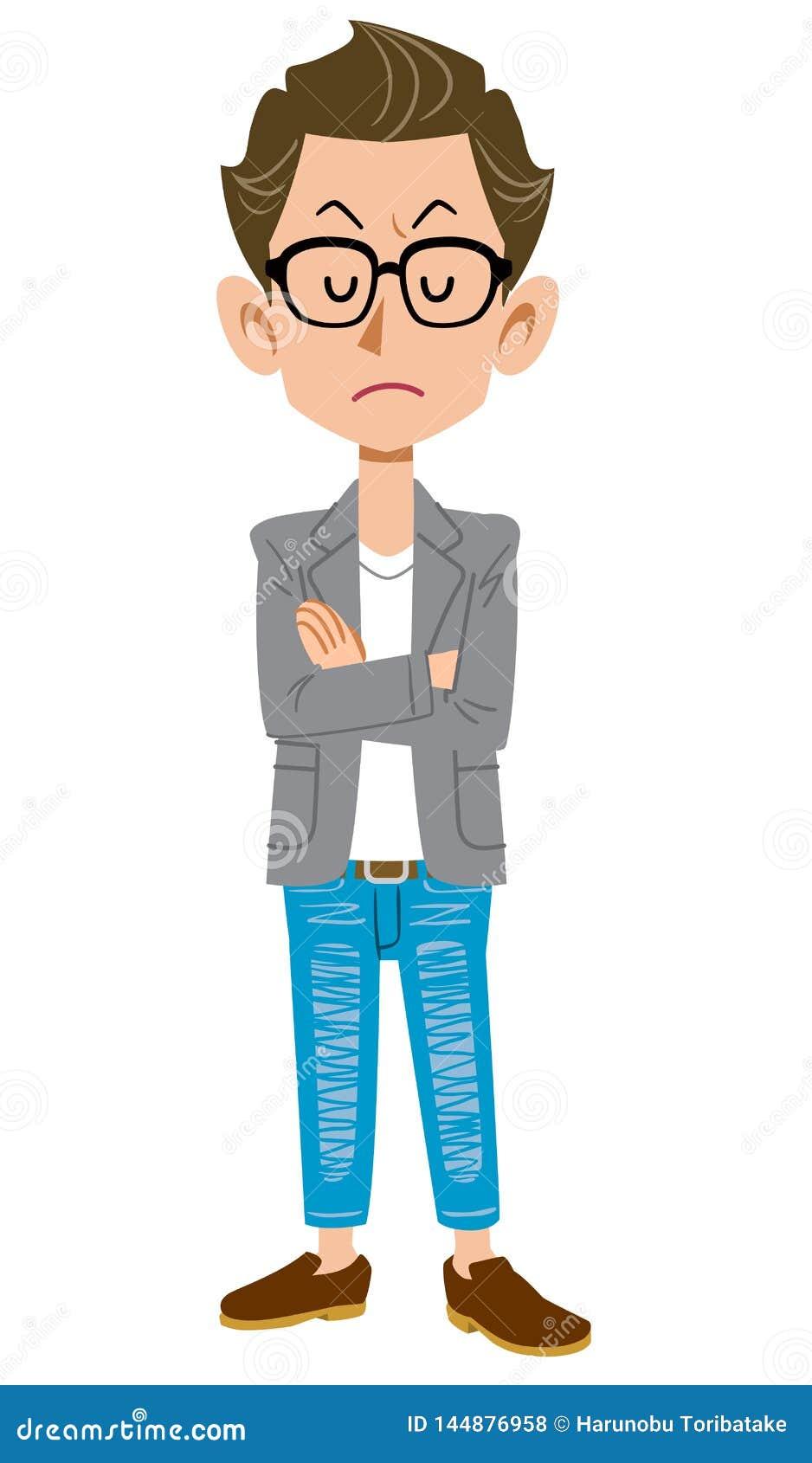 Skapare-som ung man stängde sig att bära ett omslag med armar och stängda ögon