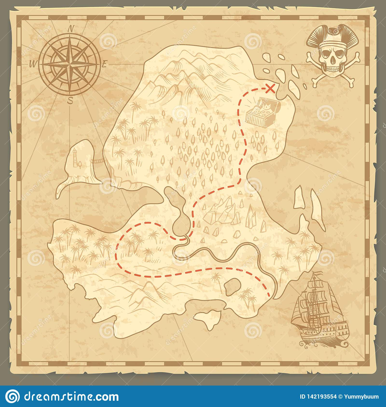 Skarb wyspy mapa Retro tapetowej rocznik wysp mapy podróży nautyczny tło z cyrklowym statku pirata pojęciem