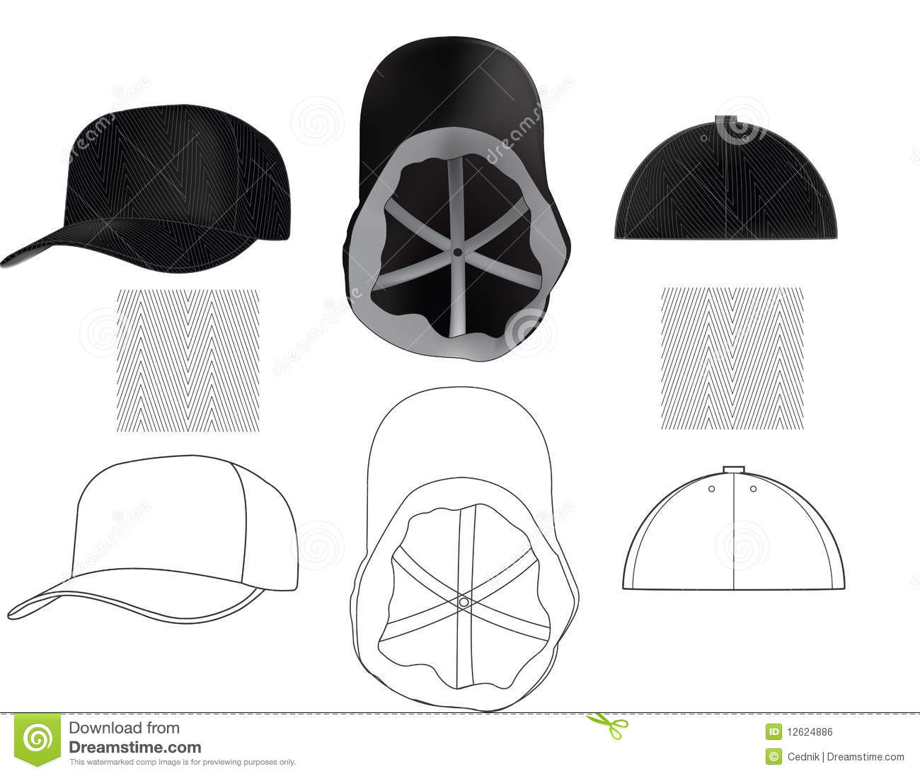 skate cap with seamless texture stock vector