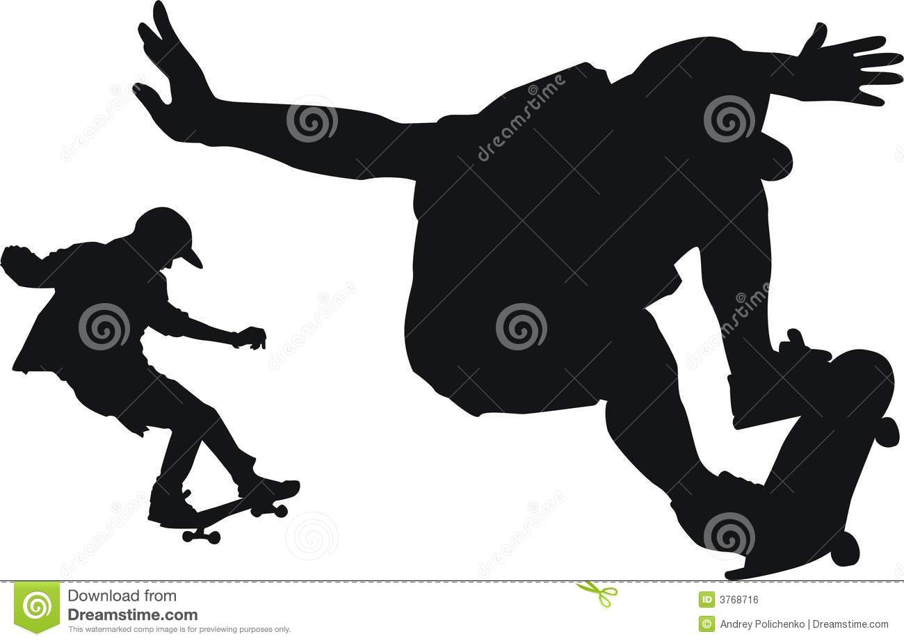Skateboard Clip Art Black And White It is black white silhouettes