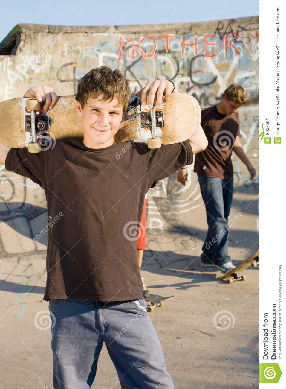 Images Of Boys Painted Bedrooms: Skateboard Boys Stock Image