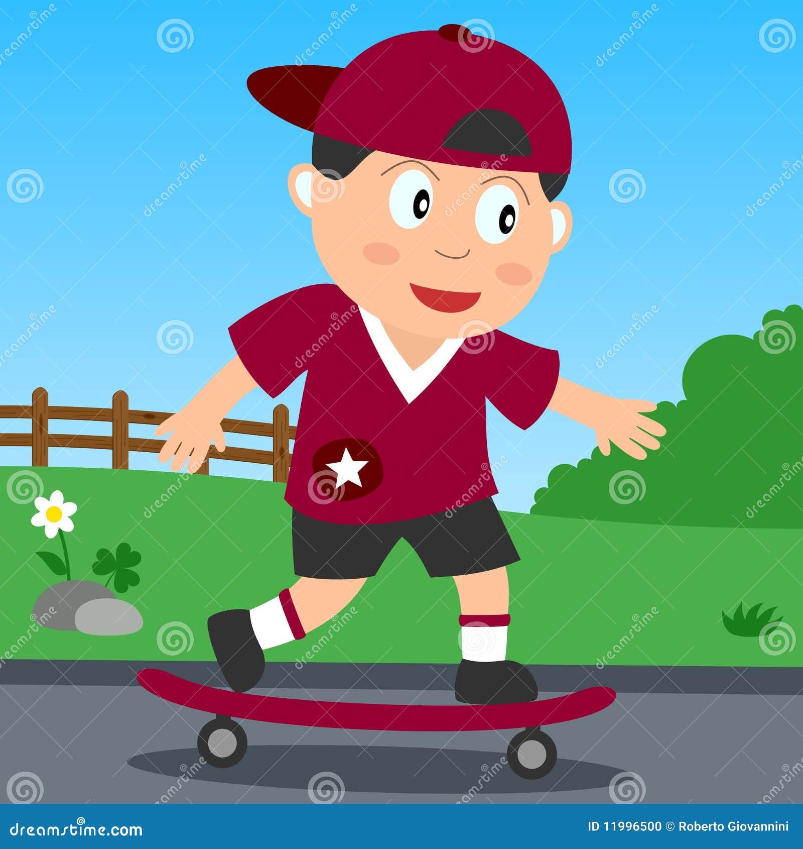 Skateboard-Junge im Park