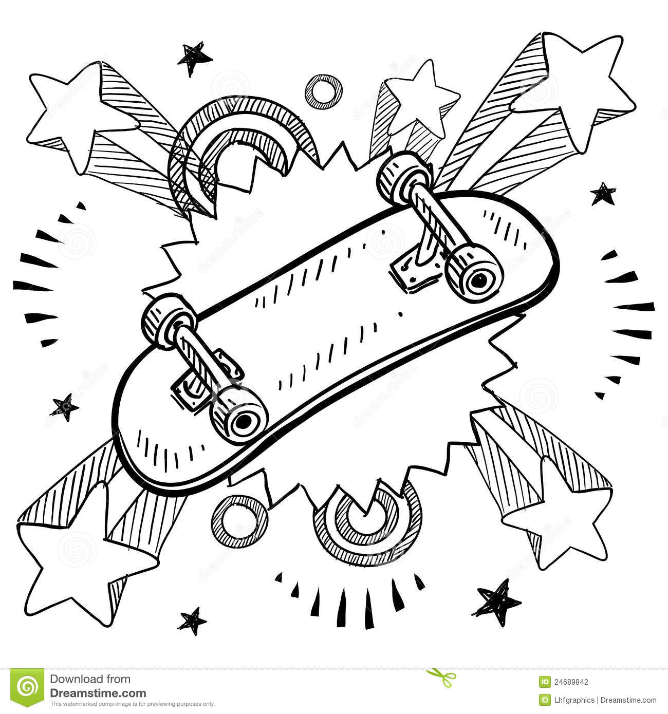 Man riding on skateboard vector sketch icon isolated on background ...