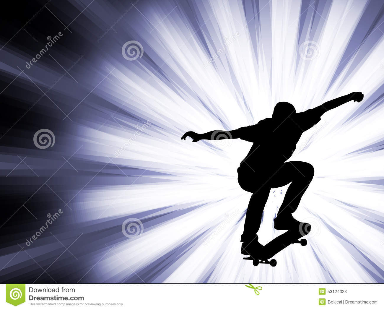 Skateboarder on the abstract background