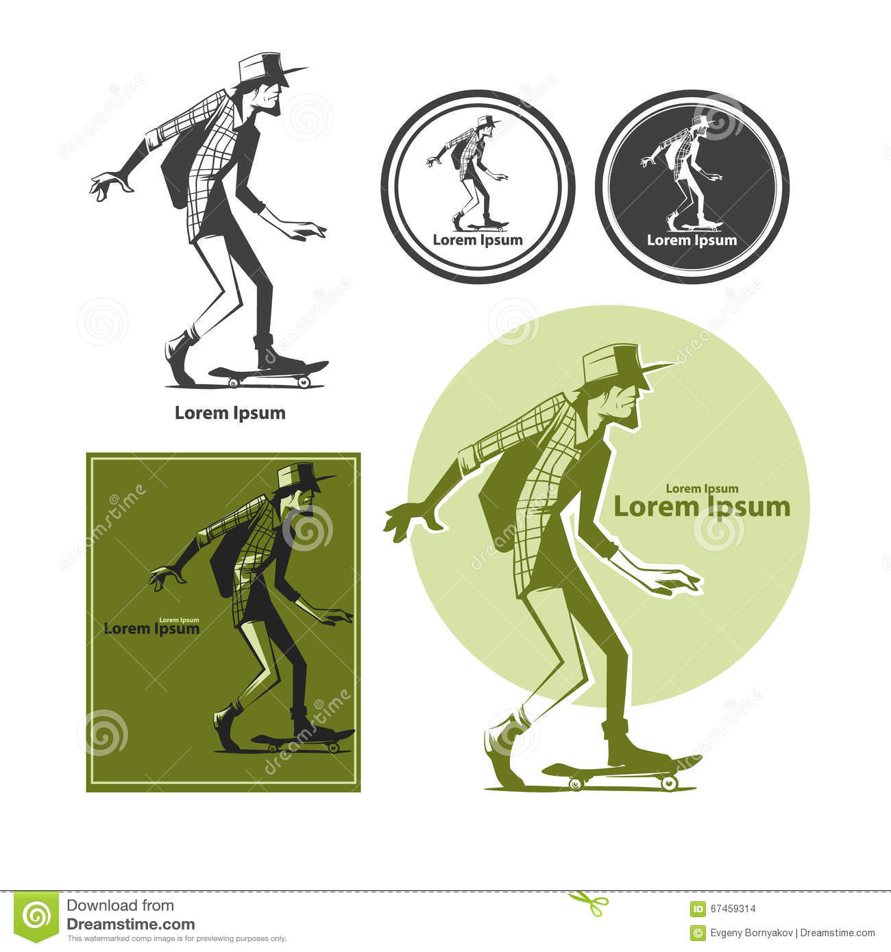 Cartoon Character Design Templates : Skateboarder stock illustration image