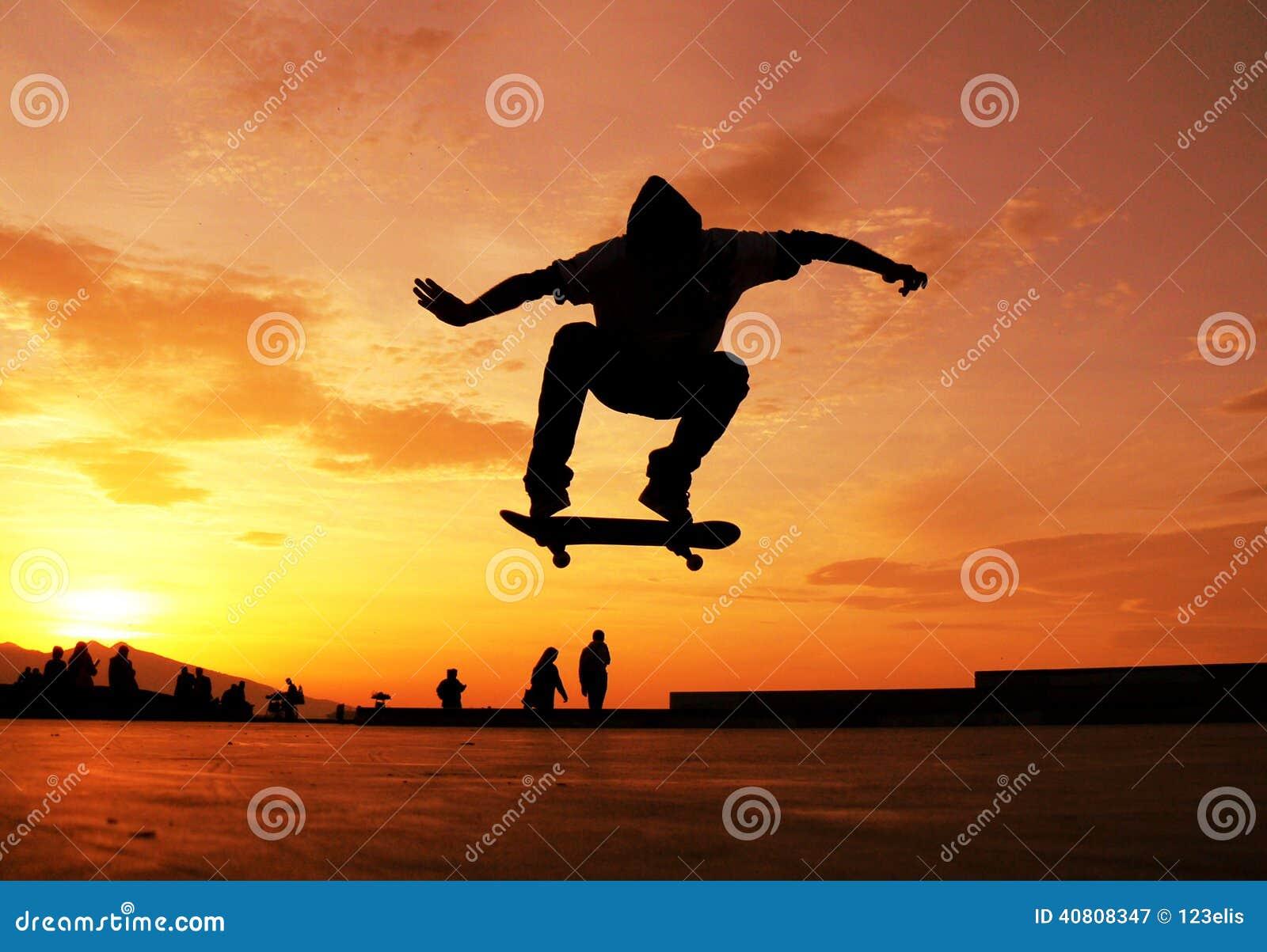 Skateboarding photography sunset