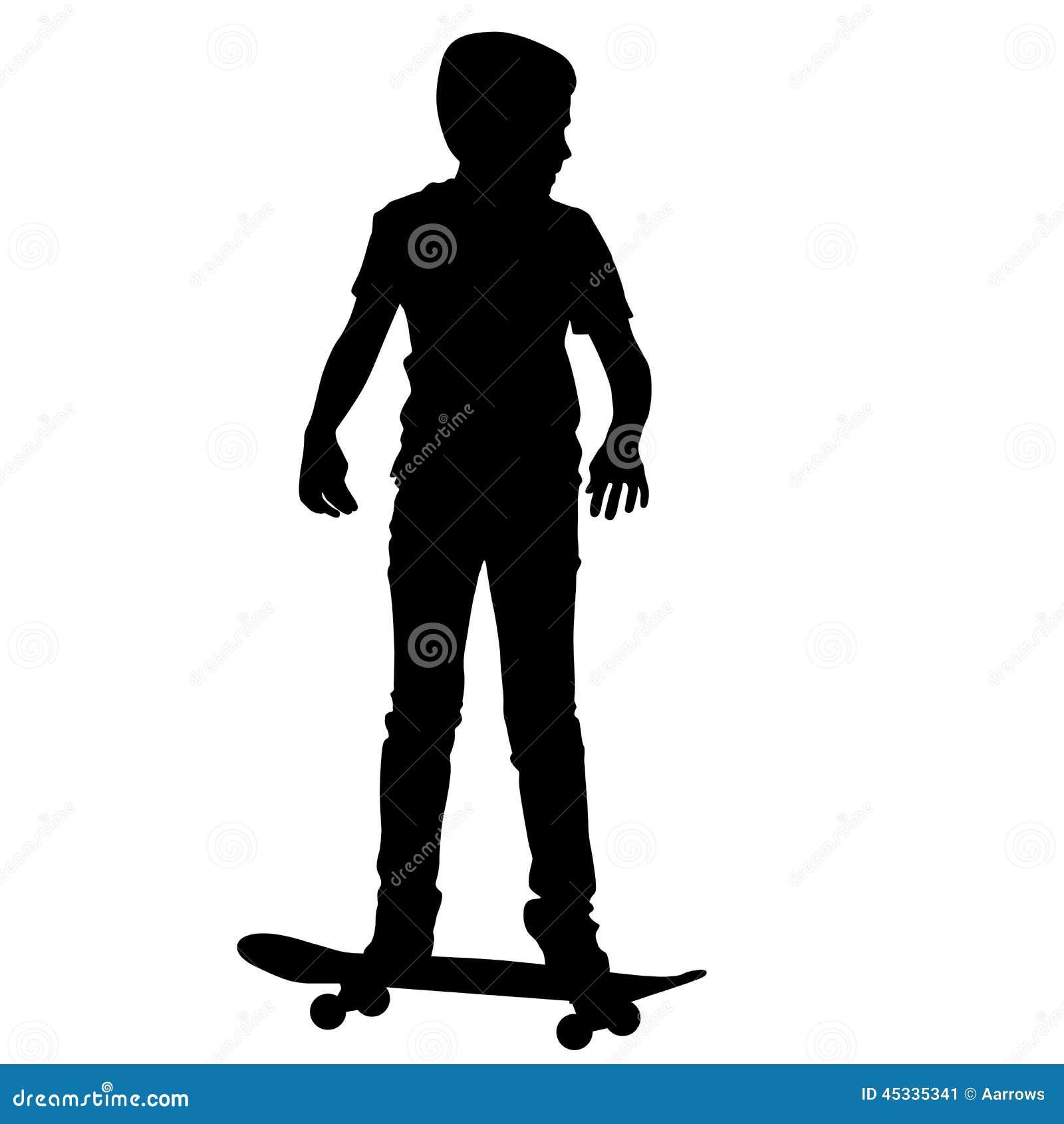 Skateboarders Silhouette. Vector Illustration. Stock ...