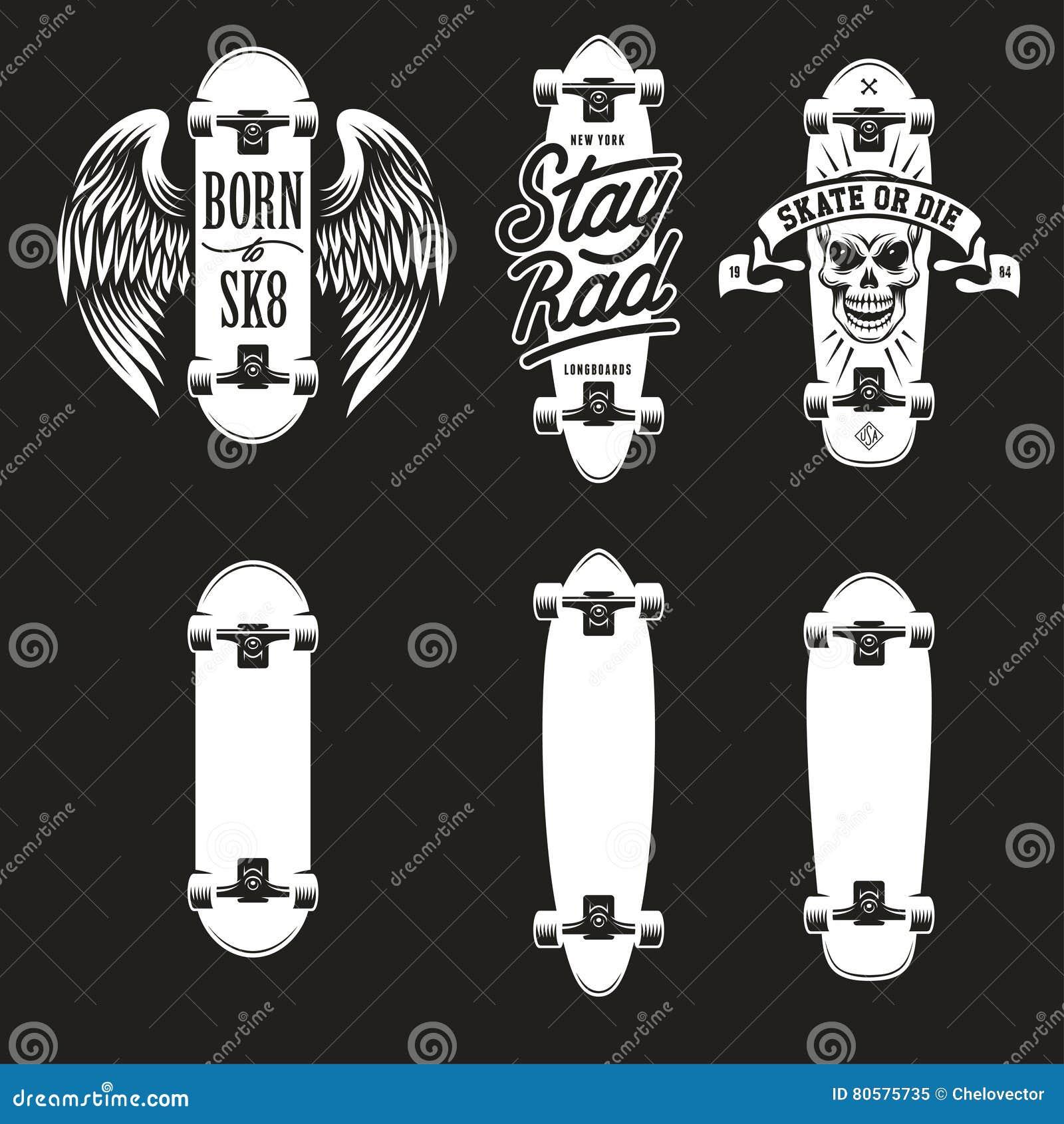 Shirt design types - Skateboarding T Shirt Design Set Quotes About Skating Vector Vintage Illustration