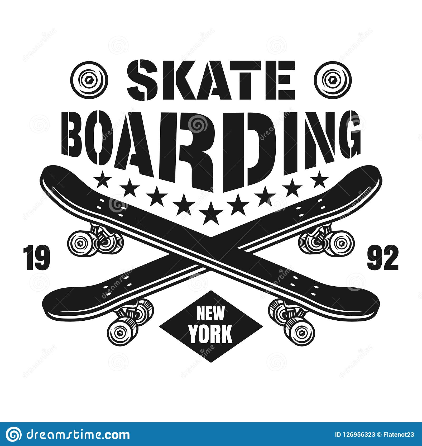 b97285e7 Skateboarding vector emblem with two crossed skate decks in vintage  monochrome style isolated on white background. More similar stock  illustrations