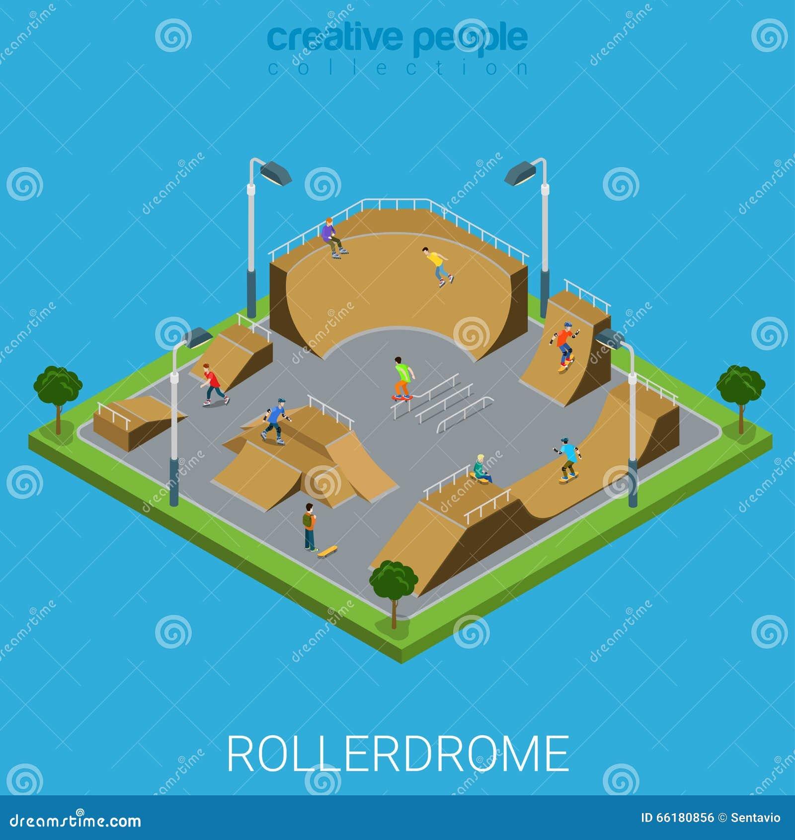 Skatepark BMX Skate Park Rollerdrome Isometric Flat Vector