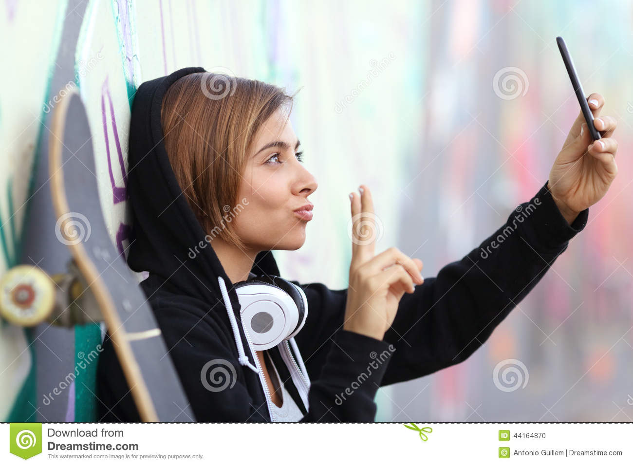 Download Skater Teenager Girl Taking A Photograph With Smart Phone Camera Stock Photo - Image of network, cell: 44164870