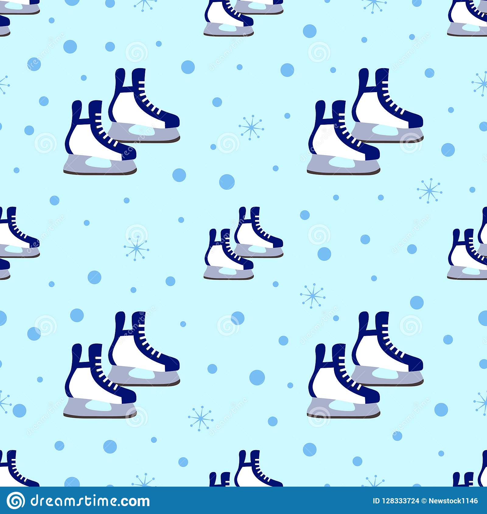 skates seamless pattern winter sports vector illustration ice