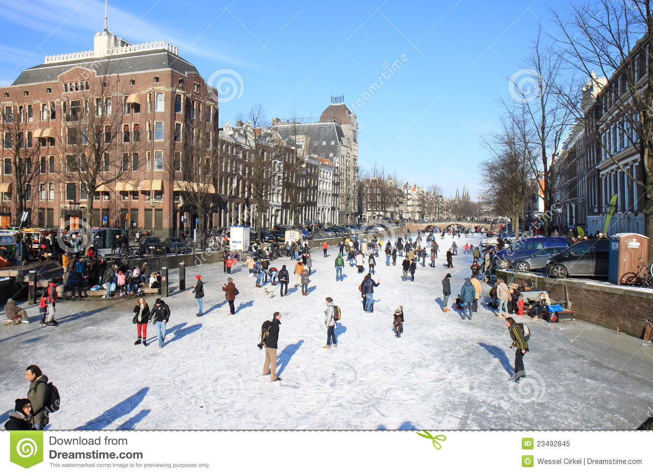 Skating Over Dutch Canal In Amsterdam Editorial Image