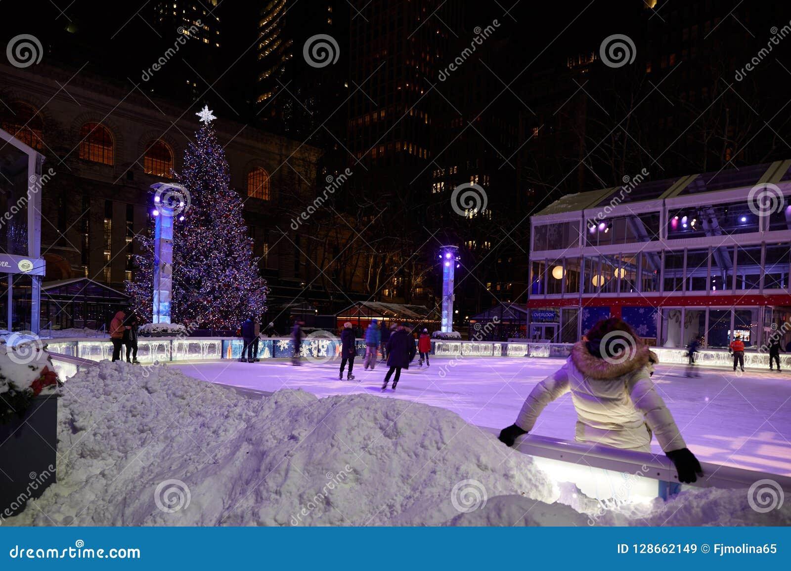 Bryant Park Christmas.Skating Rink In Bryant Park Manhattan Stock Image Image