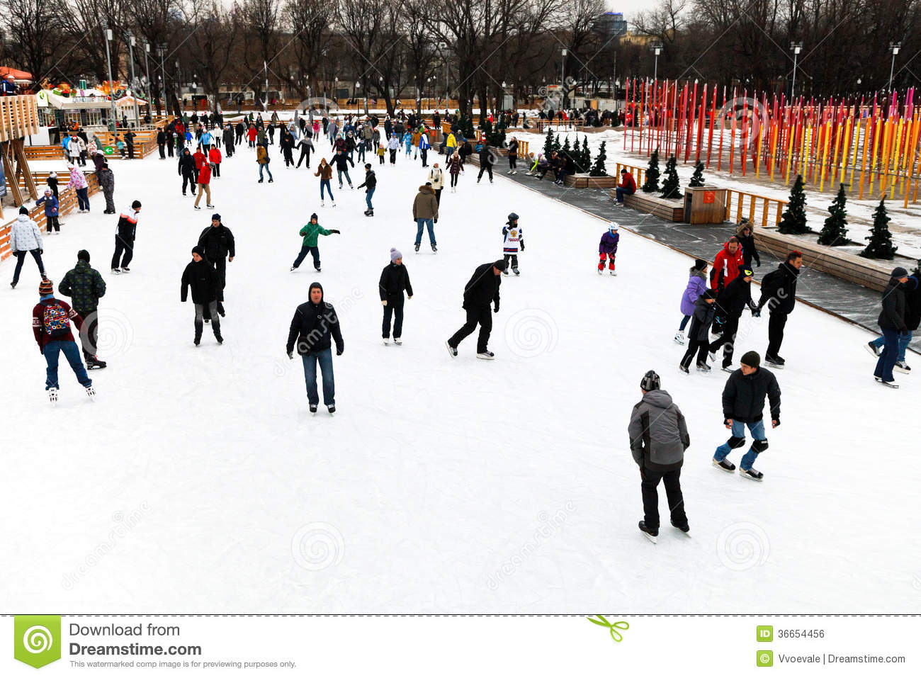 Skating Rink In Gorky Central Park, Moscow Editorial Photo ...