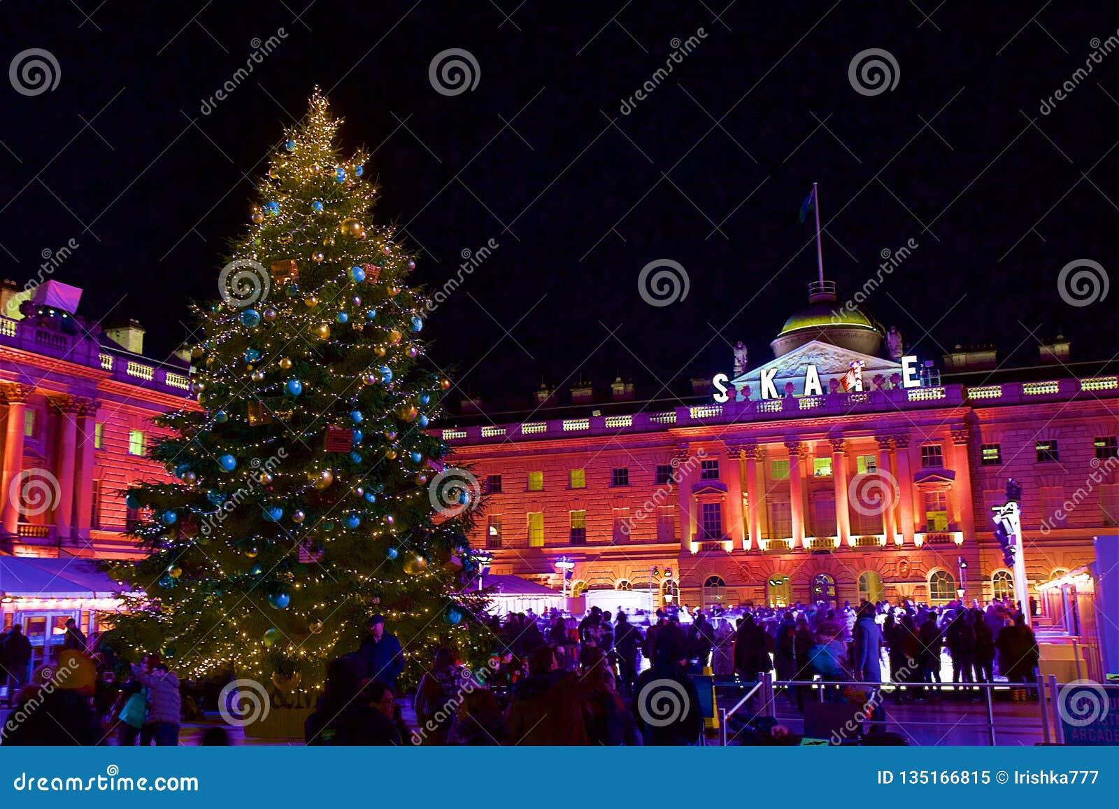 England Christmas.Skating Rink In London At Christmas Uk Editorial Image