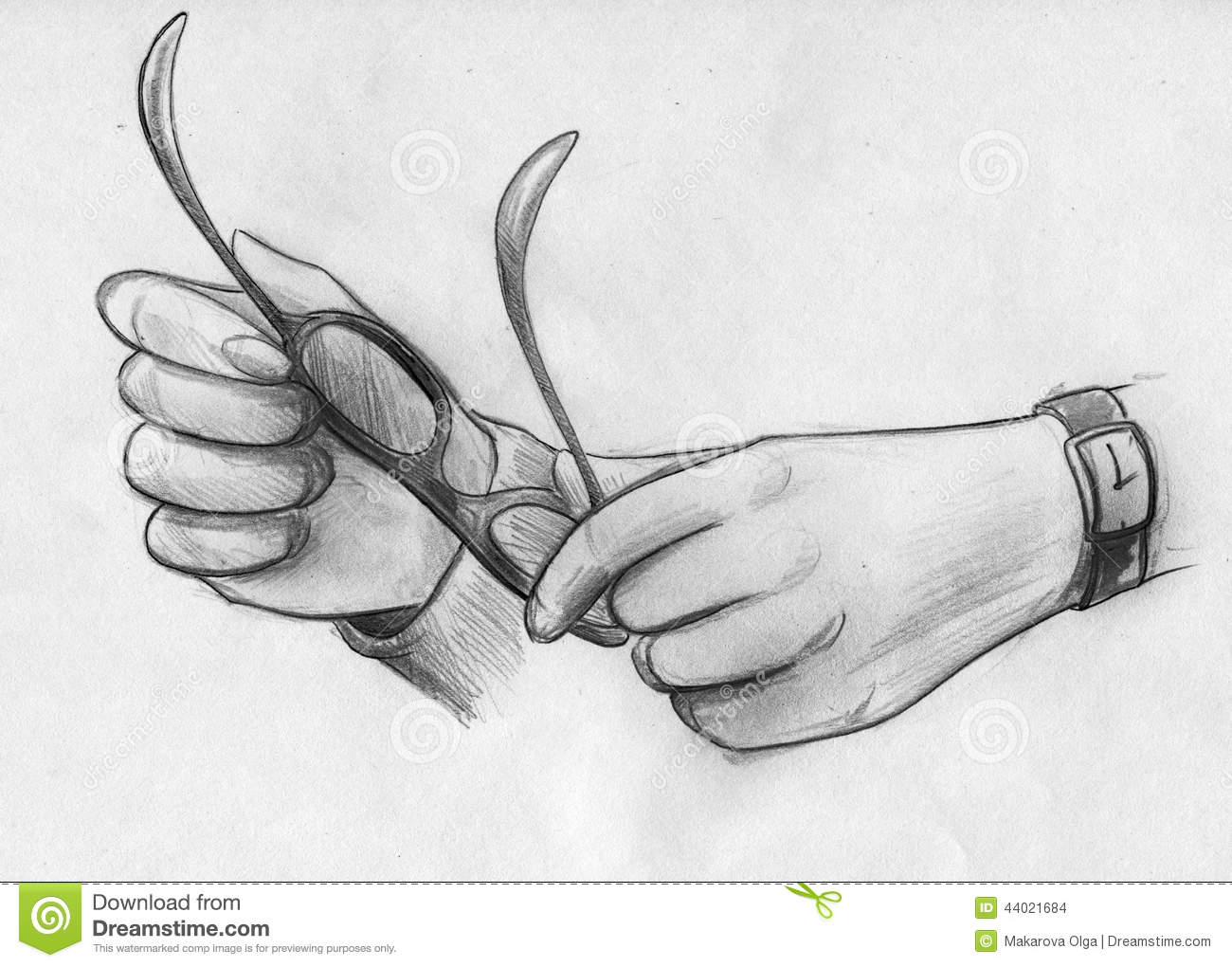 Hand Drawn Pencil Sketch Of Female Hands Holding Glasses With A Watch