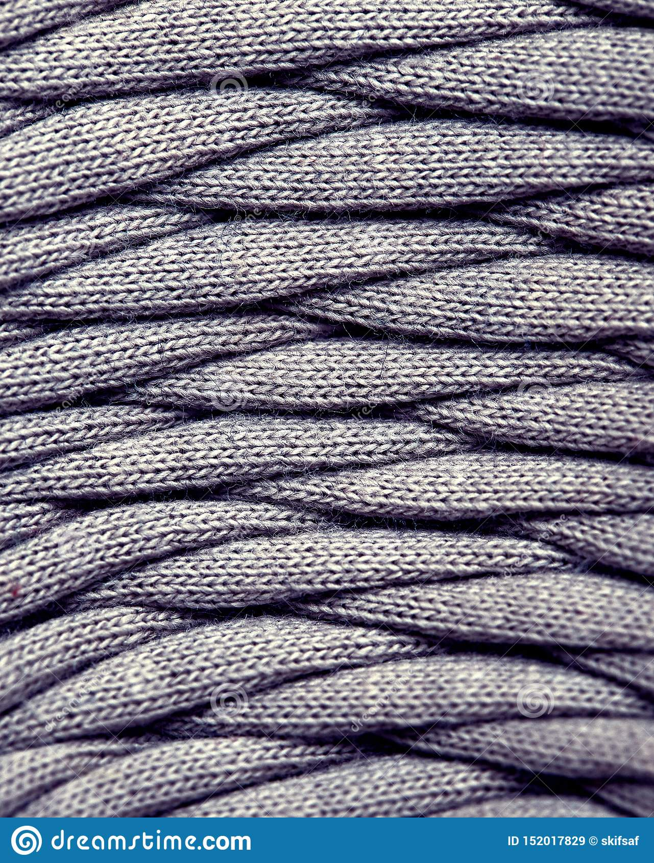 Skein Of Gray Knitted Yarn Close-up. Macro Photography ...