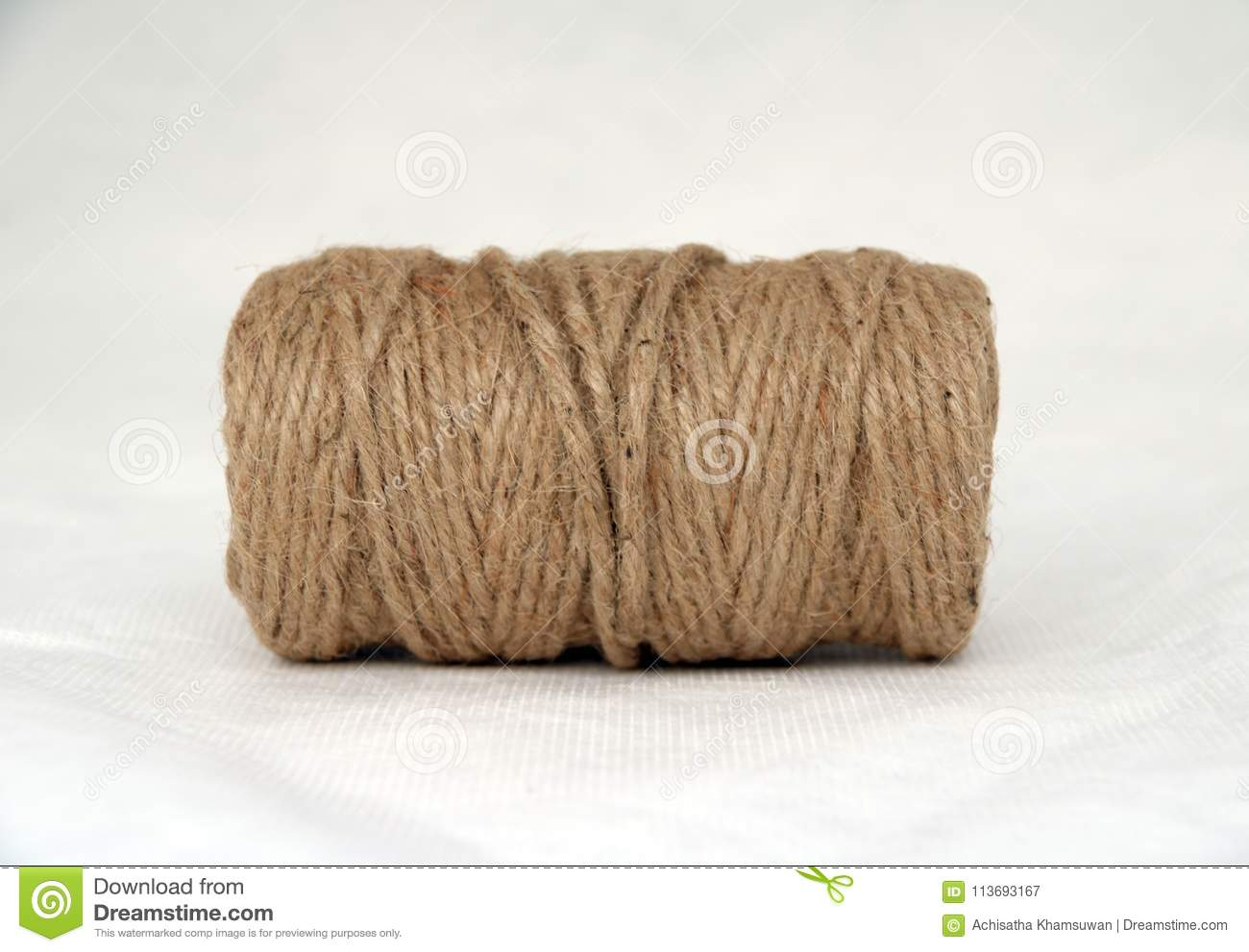 Skein of Rope jute on the white background.