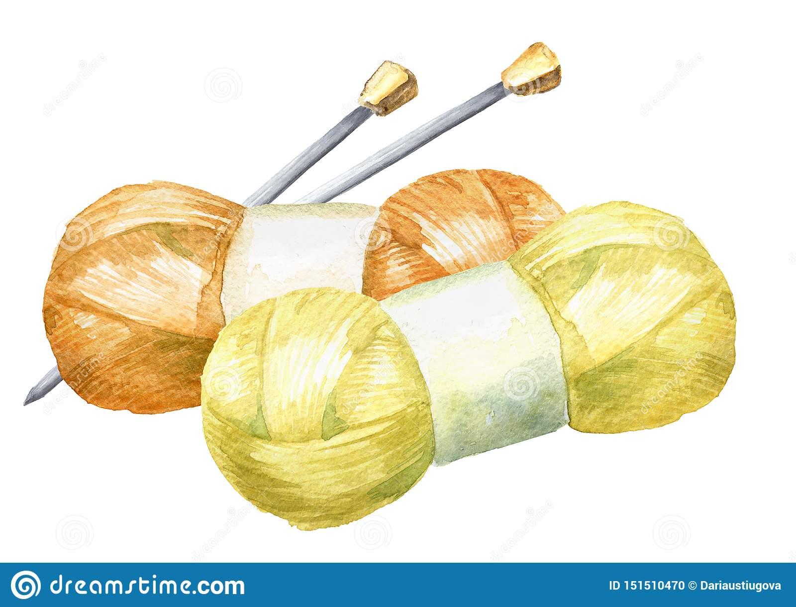 Skeins of yarn and knitting needles. Manual knitting concept. Watercolor hand drawn illustration, isolated on white background