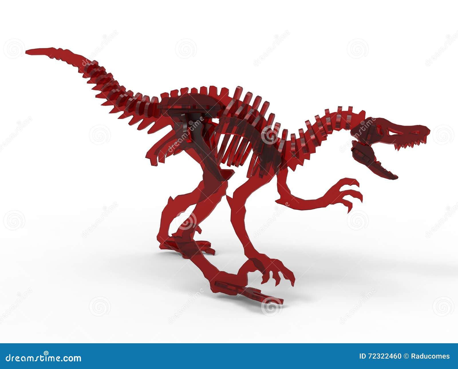 Skelet van het dinosaurus het rode glas