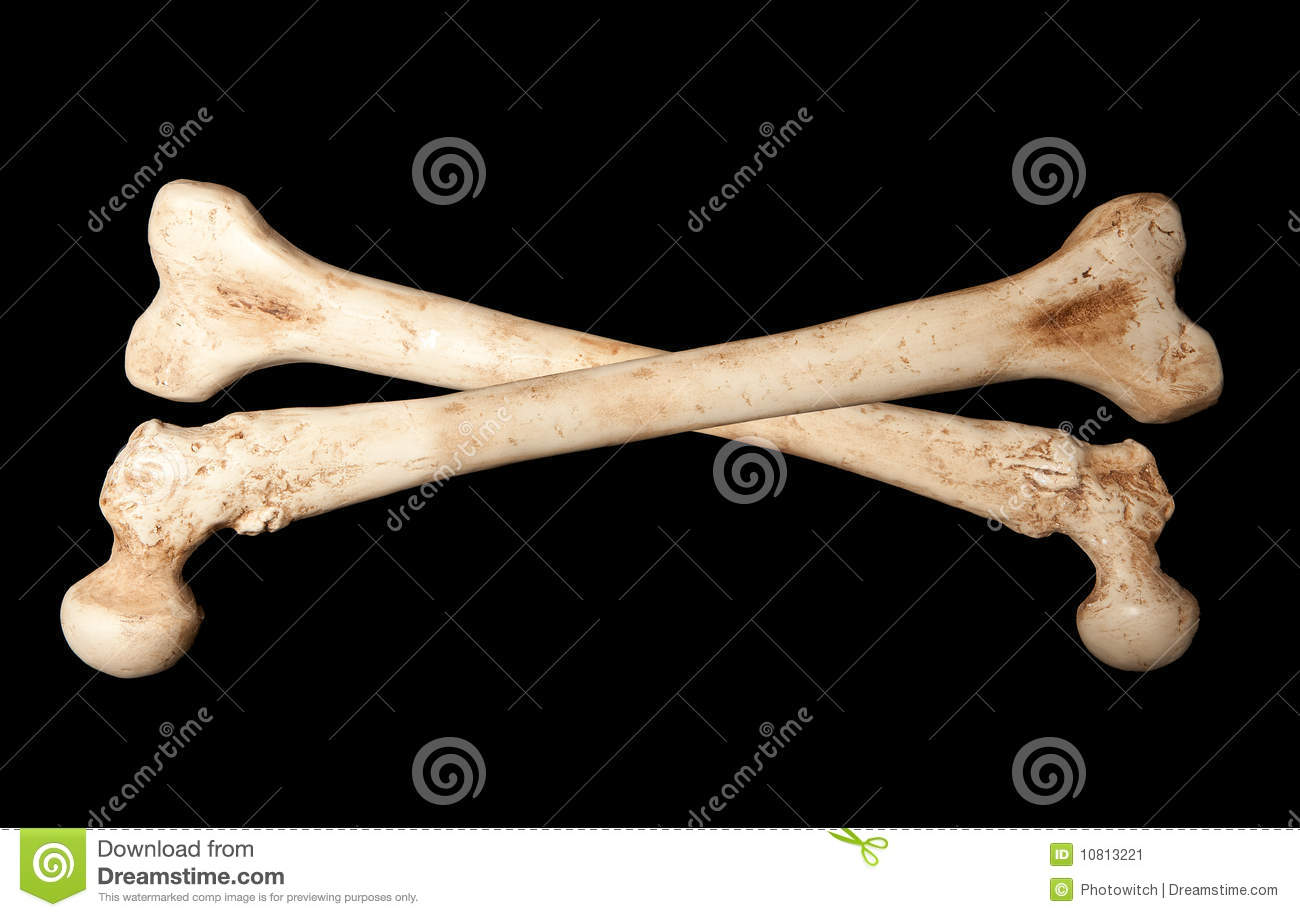 Crossbones made of two human bones on a black background.