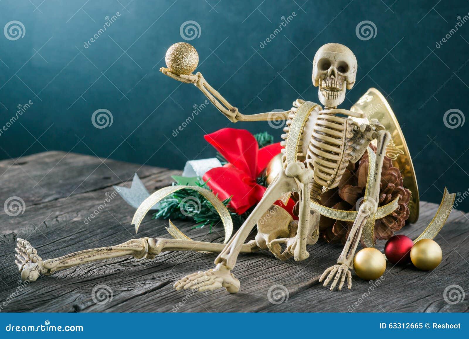 Christmas Skeleton.Skeleton With Christmas Decoration Stock Image Image Of