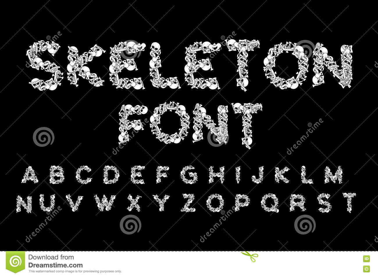 Anatomy Of Hell Deutsch skeleton font. letters anatomy. bones abc. skull and spine