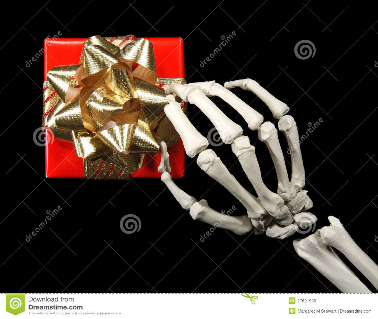 Skeleton with gift