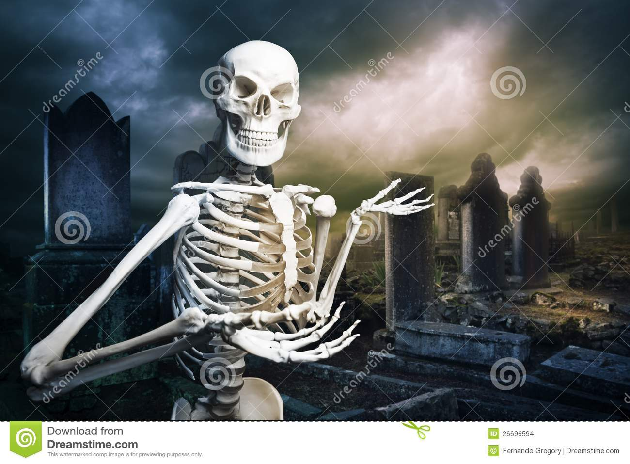 skeleton in a graveyard welcoming you stock images
