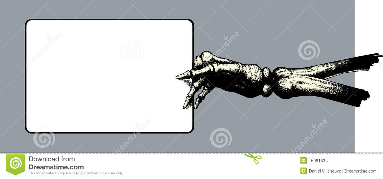 Skeleton Hand Holding Sign Drawing Of