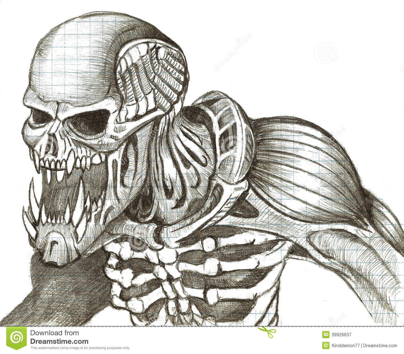 The skeleton of a monster fantasy drawn in the graphics style pencil.