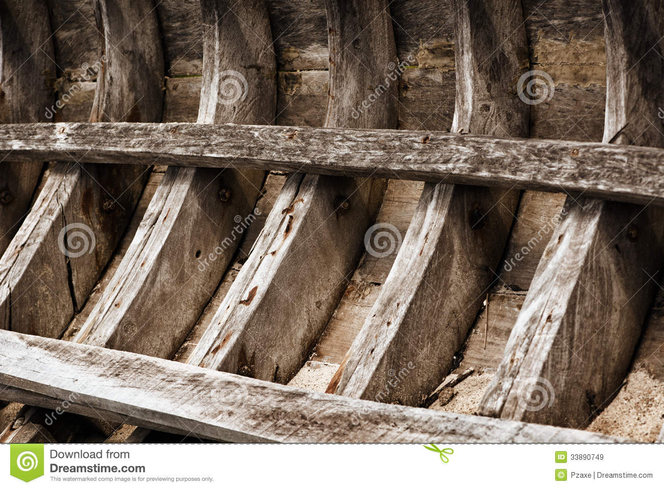 skeleton of an old wooden fishing boat thailand royalty free