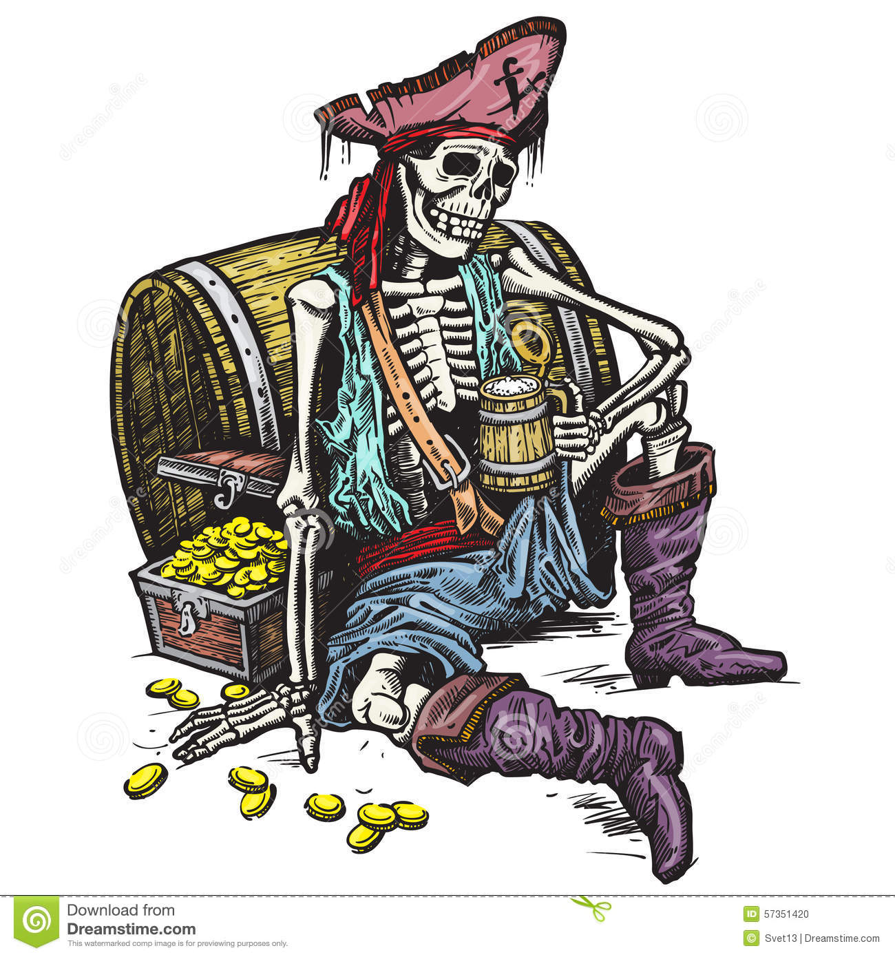 Skeleton Pirate Stock Vector Illustration Of Drunk Dead