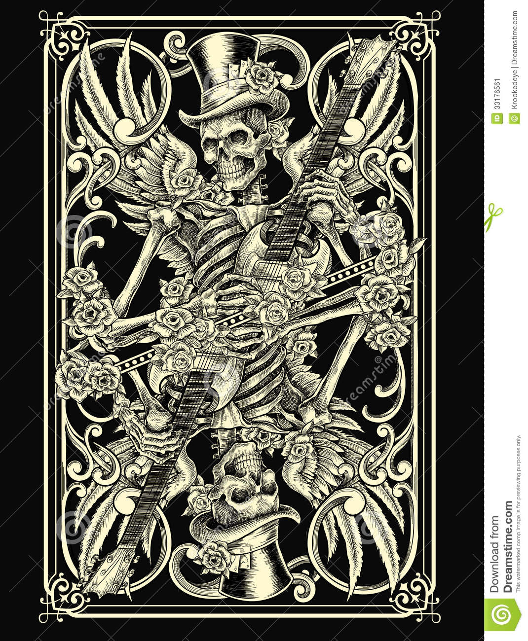 Skeleton Playing Card stock vector. Image of game, humerus