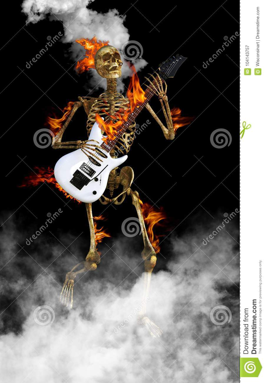 Skeleton Playing Electric Guitar Rock and Roll