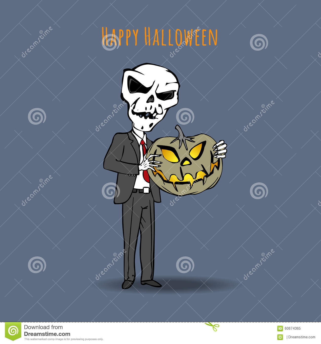 Skeleton In A Suit And A Tie With An Evil Pumpkin. Happy ...