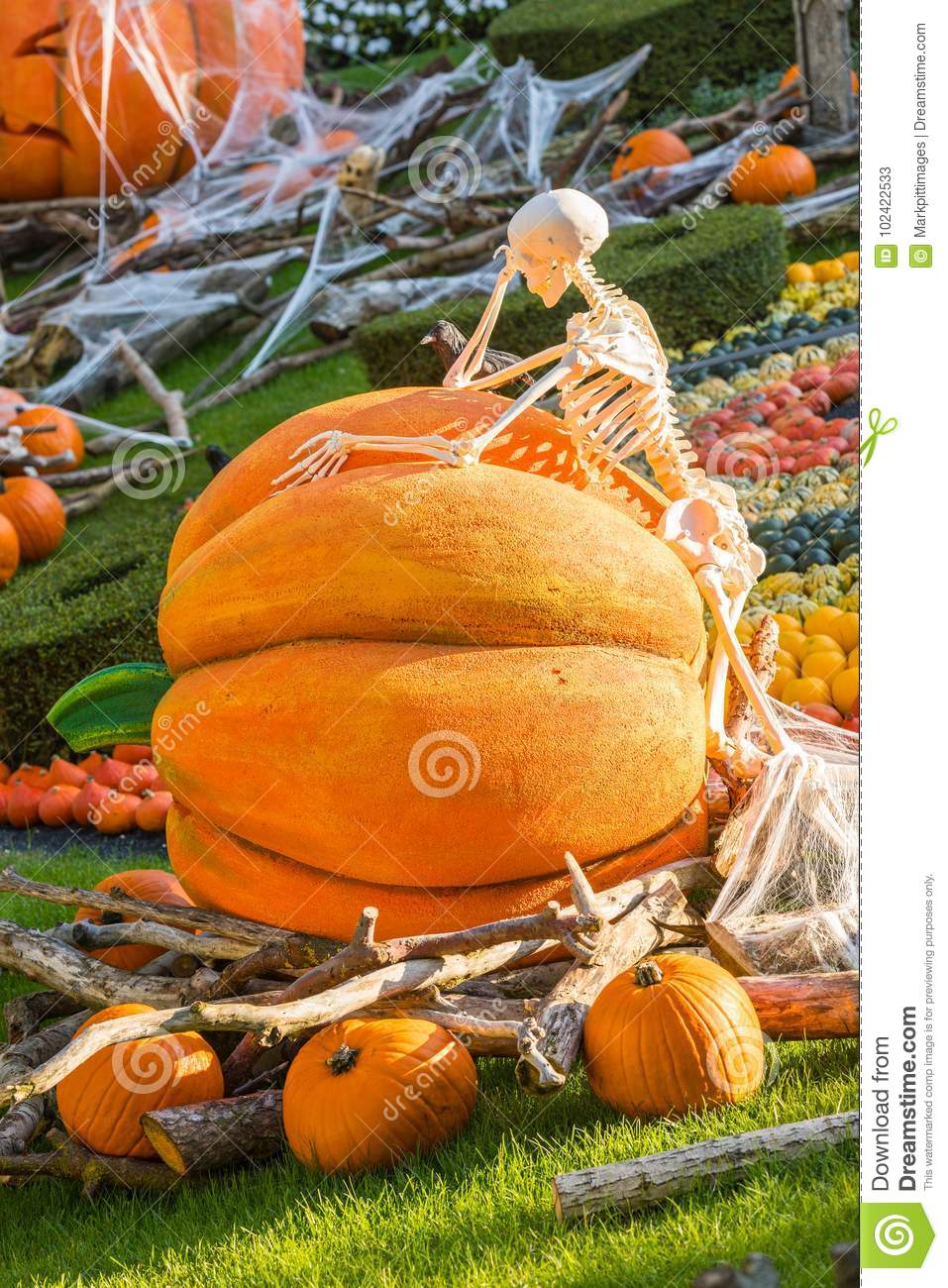A skeleton thinks leaning against a halloween pumpkin