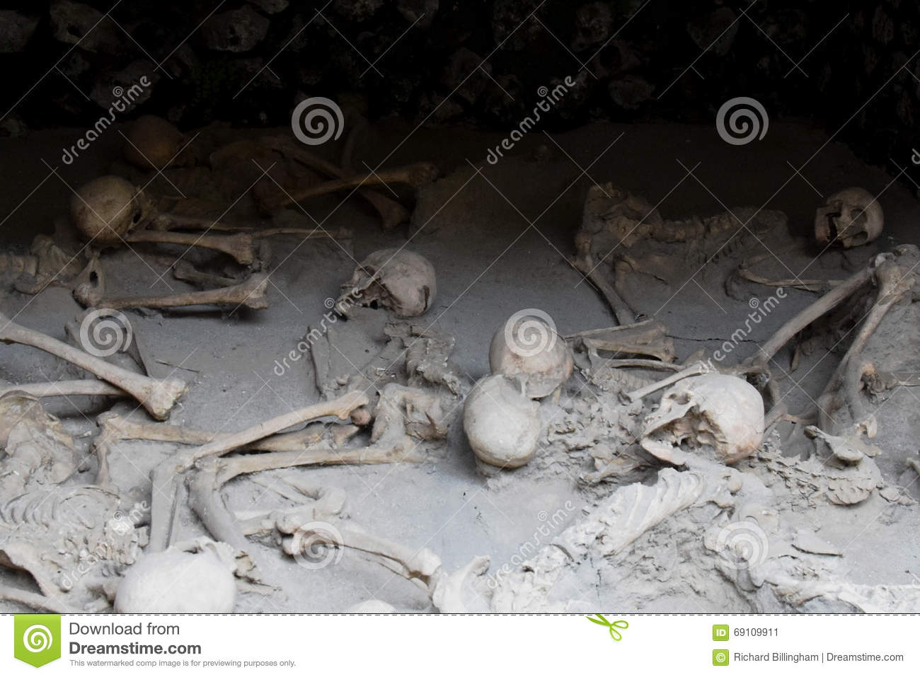 Skeletons in Boat Sheds, Herculaneum Archaeological Site, Campania, Italy