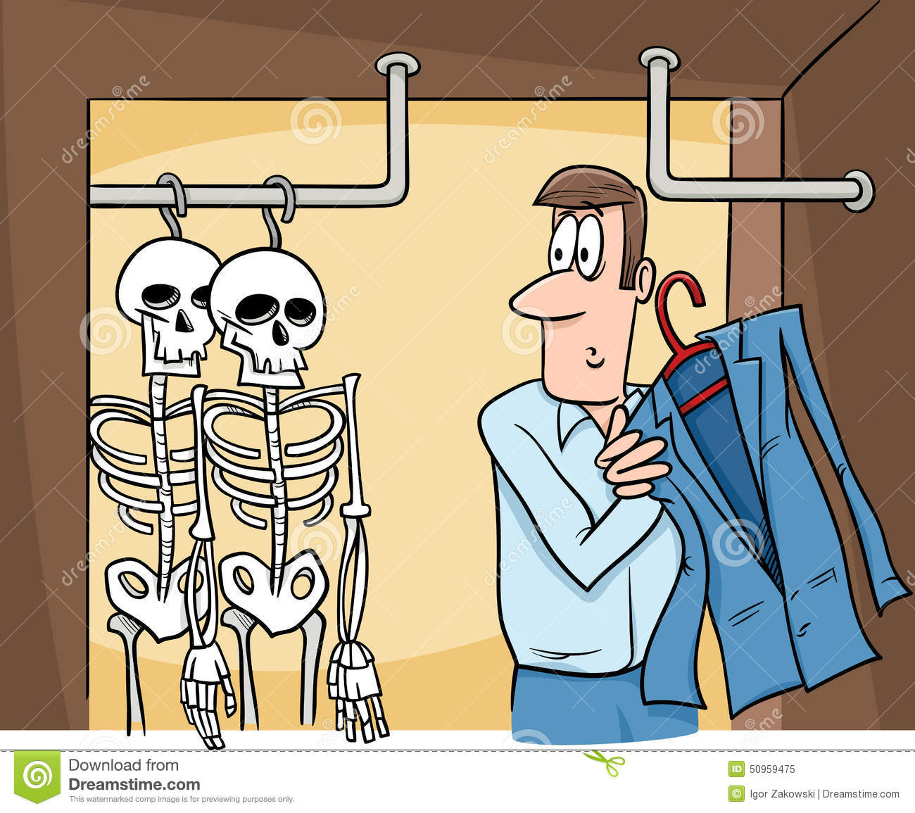 Skeletons In The Closet Cartoon Stock Vector Illustration