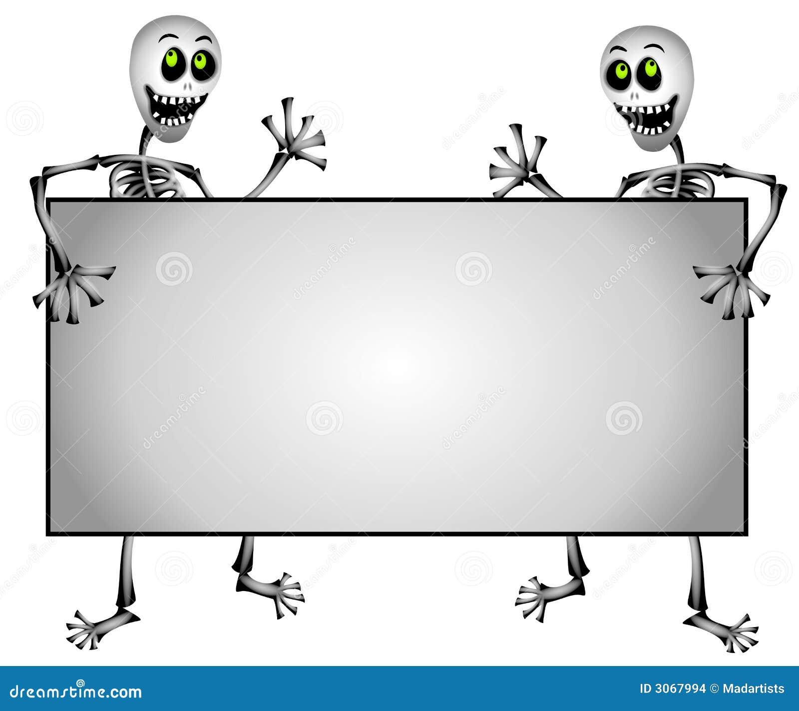 Skeletons Holding Blank Sign Stock Illustration Illustration Of