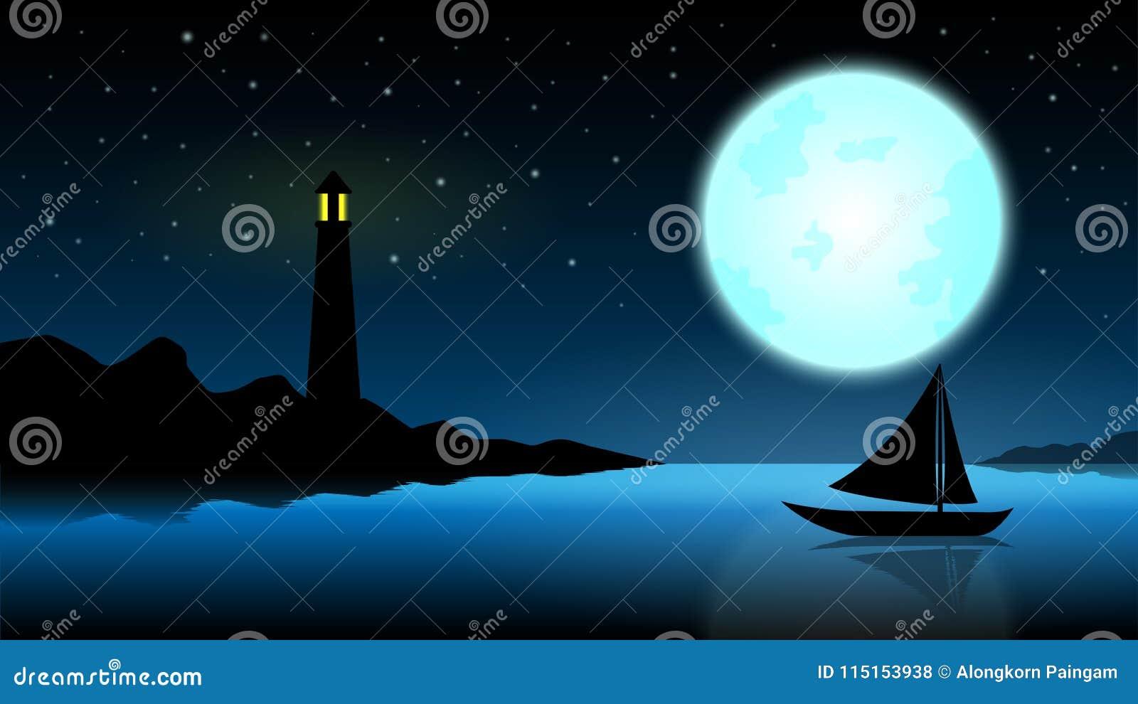 Skepp i natten av fullmånen; blått hav med fyren på mitt-