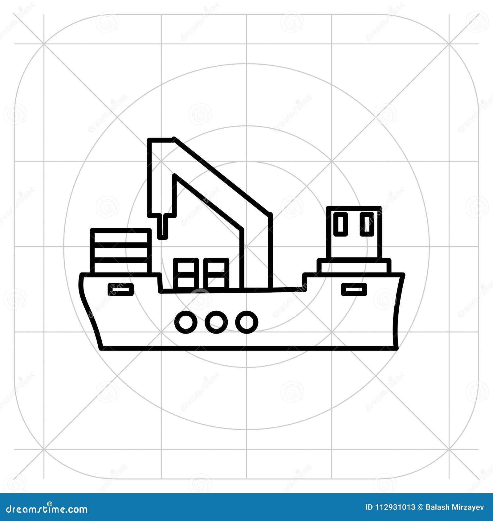 Skeppsymbolslägenhet svart pictogram på grå bakgrund Vektorillustrationsymbol