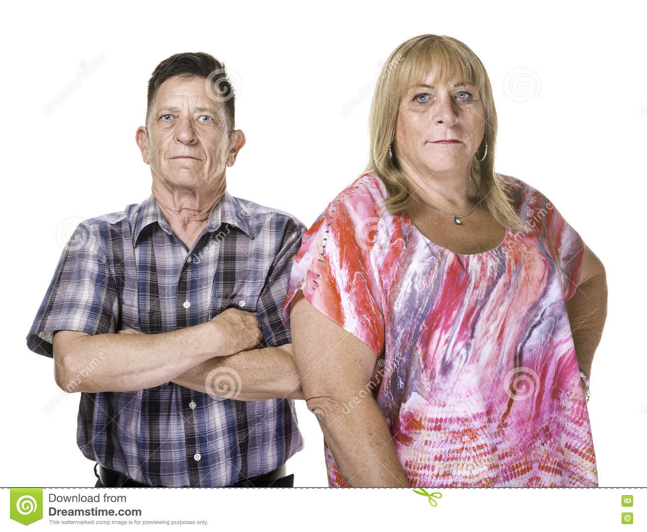 Skeptical Or Angry Transgender Man And Woman Stock Photo
