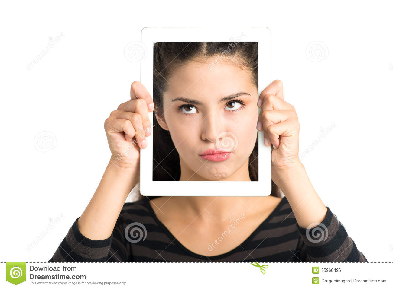 Skeptical Face In Gadget Royalty Free Stock Image - Image ...