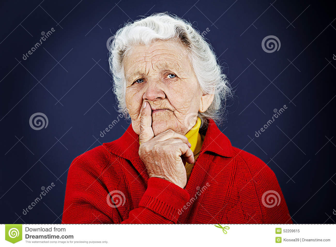 Skeptical Old Elderly Woman Stock Image Image Of Checker