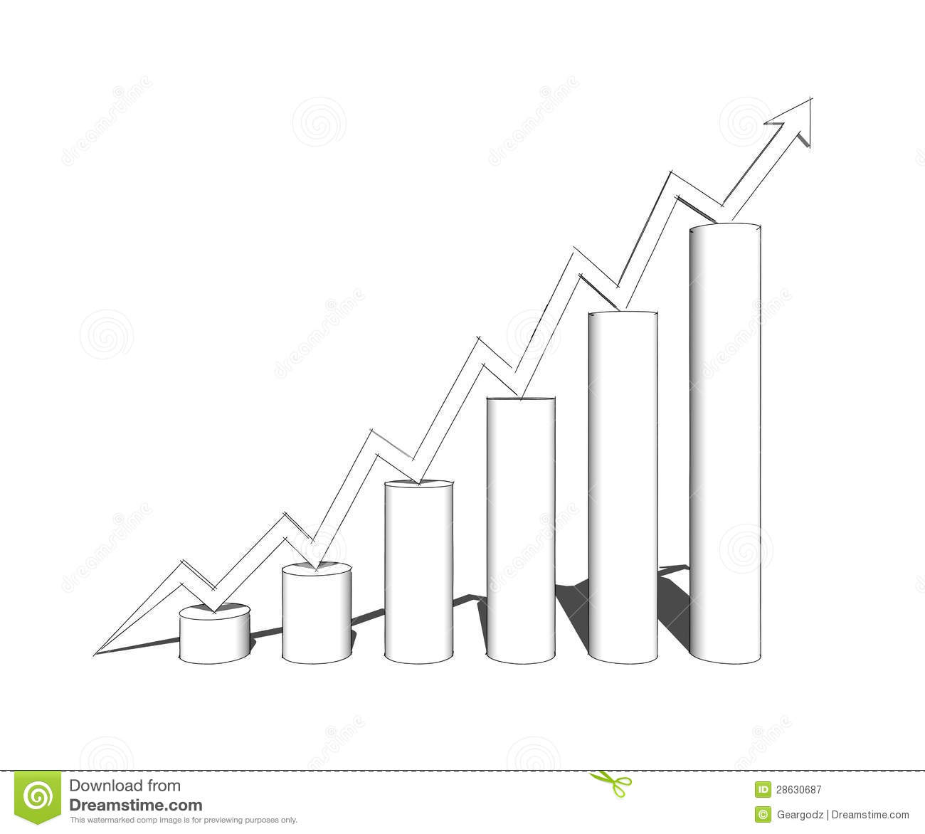 Sketch Of 3d Bar Graph Royalty Free Stock Photography - Image ...