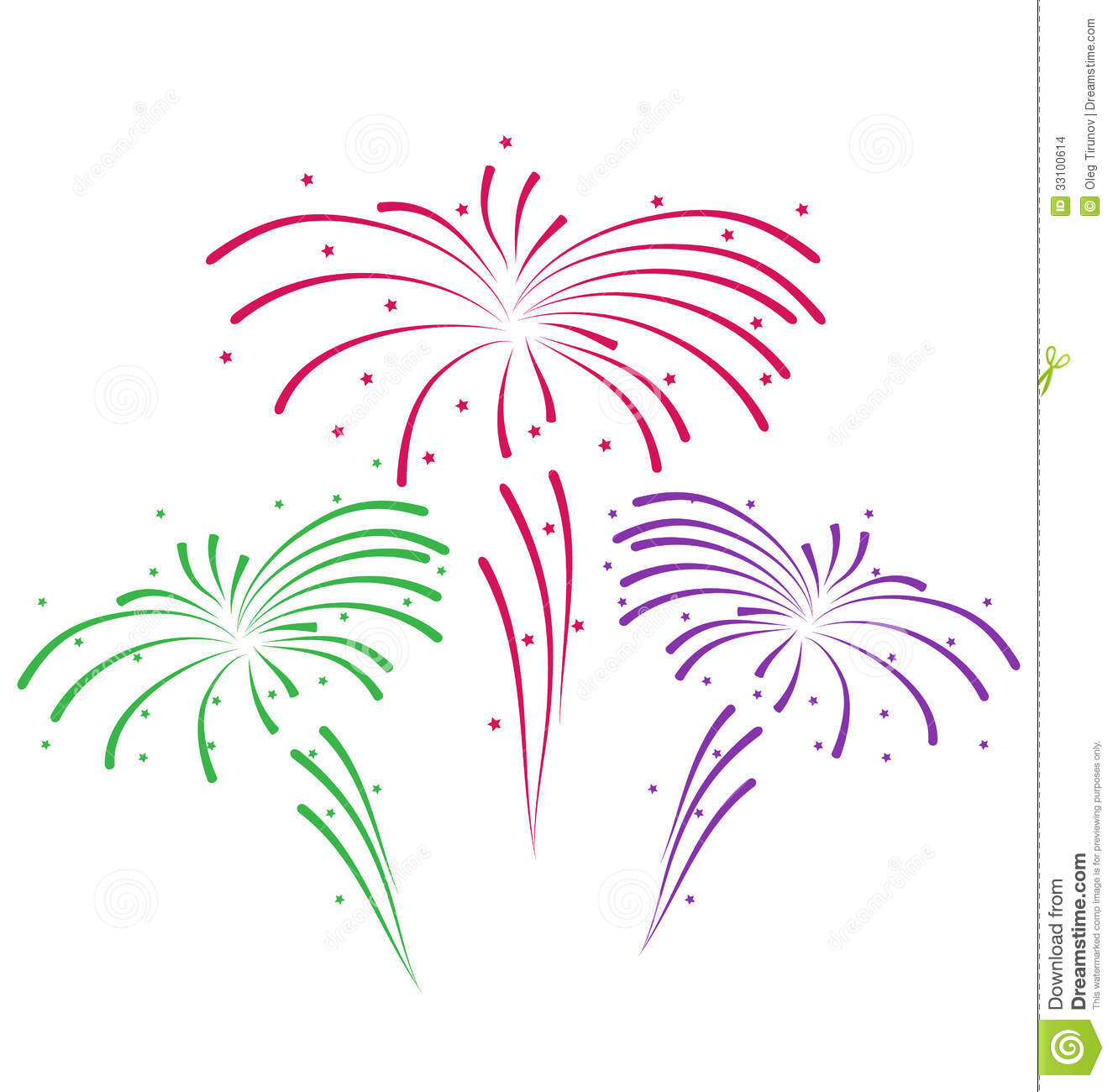 New Years Eve Fireworks Clipart Abstract colorful firework